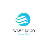 Wavy wave in round shape, red and blue feather logos. Isolated abstract decorative logo set, design element template on. White background stock illustration