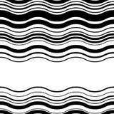 Wavy, zig-zag horizontal parallel lines. Abstract monochrome sea Stock Image