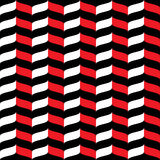 Wavy zig zag seamless pattern red, white and black 3d Royalty Free Stock Image