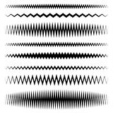 Wavy, zigzag line set with different level of distortion Stock Photos