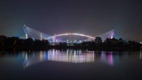 Wawasan Bridge. Illuminating Putrajaya`s Wawasan bridge at night Royalty Free Stock Photography