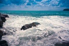 Wawe splashes sea storm horizon Royalty Free Stock Image