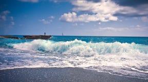 Wawe splashes sea storm horizon Royalty Free Stock Photo