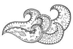 Wawe zen tangle and zen doodle vector. Ocean zentangle and zendoodle Royalty Free Stock Photography
