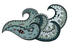 Wawe zen tangle and zen doodle vector. Royalty Free Stock Images