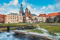Wawel城堡内在庭院在克拉科夫,波兰 免版税库存照片