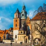 Wawel城堡内在庭院在克拉科夫,波兰 库存图片