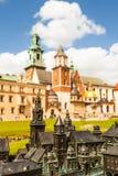 Wawel城堡和大教堂看法有庭院的,克拉科夫,波兰 免版税库存图片