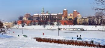 Wawel城堡在克拉科夫和冻结维斯瓦河 免版税图库摄影
