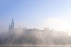 Wawel城堡在早晨雾的克拉科夫 库存图片