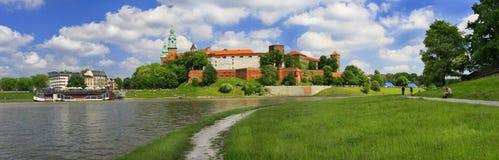 Wawel城堡的全景在克拉科夫 图库摄影
