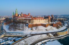 Wawel大教堂和城堡在冬天 克拉科夫波兰 免版税库存图片