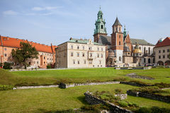Wawel大教堂和庭院在克拉科夫 库存照片