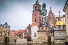 Wawel大教堂在克拉科夫,历史的波兰城市 库存图片