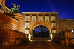 Wawel皇家城堡:对城堡的主闸,克拉科夫, Po 库存图片