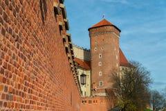 Wawel - королевский замок над Рекой Висла в Кракове Стоковая Фотография