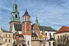 Wawel - королевский замок над Рекой Висла в Кракове Стоковое Изображение RF