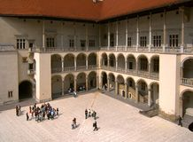 Wawel castle. The castle courtyard of Wawel Castle, Krakow, October 2012, Poland Royalty Free Stock Images
