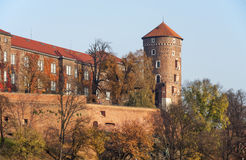 Wawel Castle in autumn, Krakow, Poland. Wawel Castle and Sandomierska tower in fall, Cracow, Poland Stock Photography