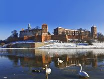 Wawel castle on the bank of the Vistula river in Krakow Stock Image