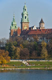 Wawel Castle and Cathedral. Wawel Castle, Cathedral towers and Vistula River in Krakow, Poland Stock Photo