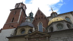Wawel Castle Cathedral. Gold plated shingles on the cathedral of Wawel Castle in Krakow, Poland Royalty Free Stock Photo
