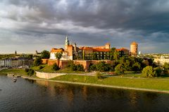 Wawel Castle and Cathedral in Krakow, Poland. Aerial view with d Royalty Free Stock Image