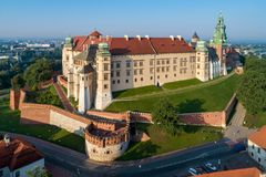 Wawel Castle and Cathedral in Krakow, Poland. Aerial view at sun Stock Images