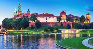 Wawel Castle and Cathedral in Krakow, Poland. Scenic summer night view of the Wawel Castle, Cathedral Church and Vistula river embankment in the Old Town of stock video
