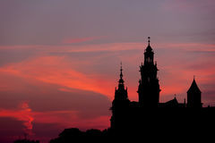 Wawel Castle and Cathedral Silhouette in Krakow Stock Photo