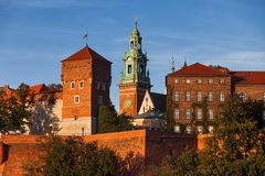 Wawel Castle and Cathedral Tower in Krakow stock photo