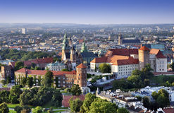 Wawel Castle in Cracow. Cracow skyline with aerial view of historic royal Wawel Castle and city center Royalty Free Stock Photography