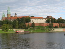 Wawel Castle, Cracow, Poland. The royal castle of Wawel in Cracow (Krakow), Poland. View from the Vistula river stock photos