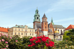 Wawel castle with flowers Stock Photos