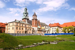 Wawel castle in Krakow. Krakow, Wawel castle panorama, home of Kings, old capitol of Poland Royalty Free Stock Photo
