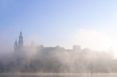 Wawel Castle in Krakow in morning fog Stock Images