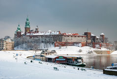 Wawel Castle in Krakow and Vistula river in winter Royalty Free Stock Photo