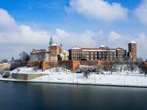 Wawel Castle in Krakow and Vistula river in winter Stock Photography