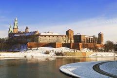 Wawel castle in Krakow on a winter day Stock Photos