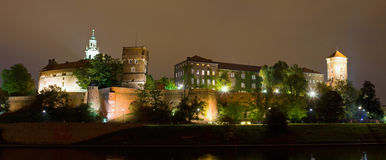Wawel Castle on night in Cracow, Poland. Stock Images