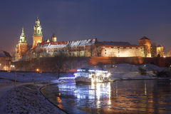 Wawel Castle at night in Cracow, Poland. Royalty Free Stock Images