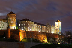 Wawel Castle in the night, Poland Royalty Free Stock Image