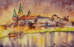 Wawel castle, Krakow, Poland. Wawel castle over Vistula river in Krakow,Poland. Picture created with watercolors stock illustration