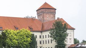 Wawel Castle in rainy day. Vie of the Krakow tower in rainy day  on Wawel castle in Poland Royalty Free Stock Photography