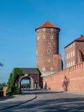 Wawel Castle: Sandomierska tower, Gate and Wall. Krakow. Poland Stock Photos