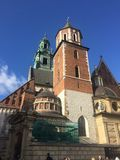 Wawel castle summer Poland blue skies. Tower in krakow stock image