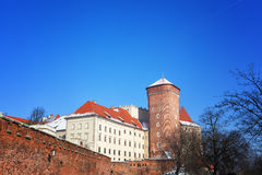 Wawel castle in sunny winter day Stock Photography