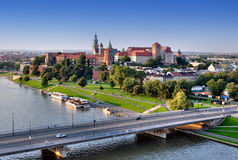 Wawel Zamek Castle, Vistula river in Krakow, Polan. Cracow panorama with Wawel castle - Zamek Wawelski, Vistula river and Grunwaldzki bridge. Aerial view at stock photo