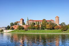 Wawel Castle at Vistula River in Krakow royalty free stock images