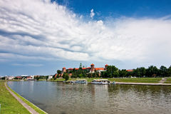 Wawel Castle and Vistula Stock Images